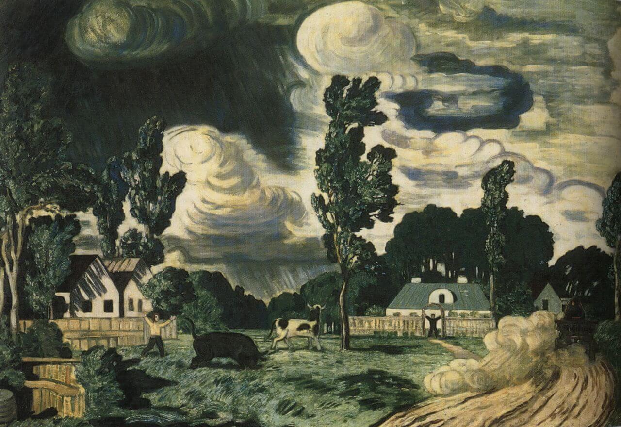 Сочинение по картине Н.П. Крымова «Ветреный день. Бык»